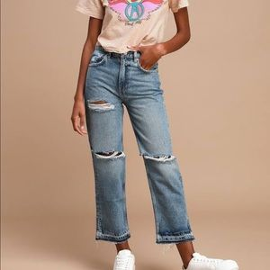 Free People Light Wash Distressed High-Waisted